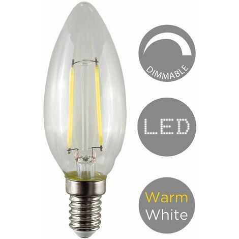 Minisun 4W Dimmable LED Filament SES E14 Clear Candle Light Bulb