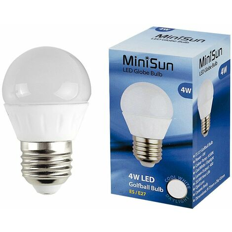 MiniSun 4W ES E27 LED Golfball Bulb in Cool White - Pack of 6 - White
