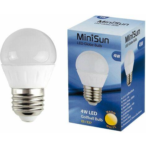 MiniSun 4W ES E27 LED Golfball Bulb in Warm White - Pack of 10 - White