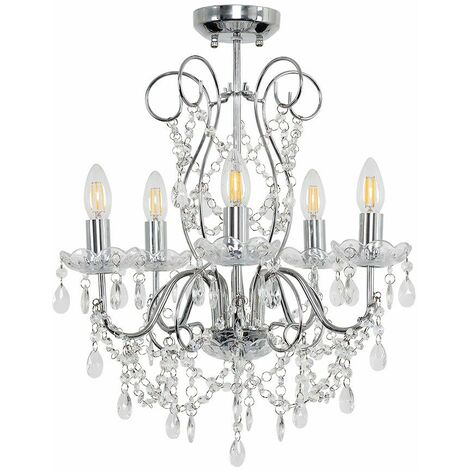 Minisun 5 Way Chrome Chandelier + Clear K5 Lead Crystal Droplets - No Bulbs