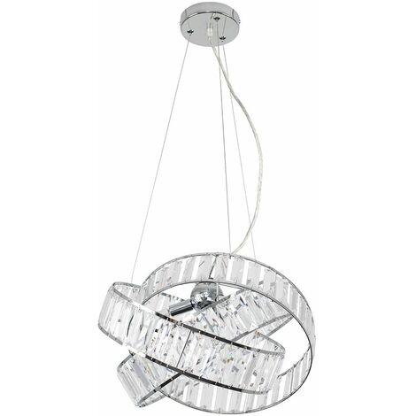 Minisun Acrylic Jewel Ceiling Light 3 Way Ring Pendant - LED Bulb - Silver