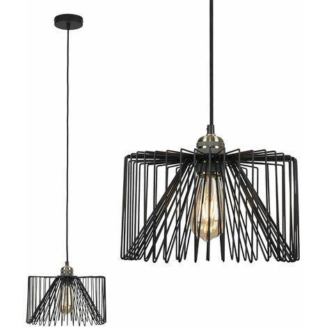 Minisun Antique Brass Ceiling Lampholder + Black Wire Shade