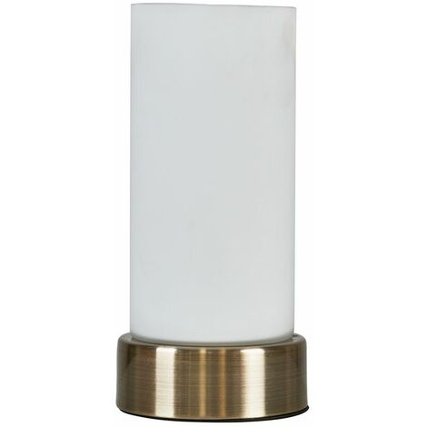 """main image of """"Antique Brass Touch Table Lamp Frosted Glass Cylinder Design - Add LED Bulb"""""""