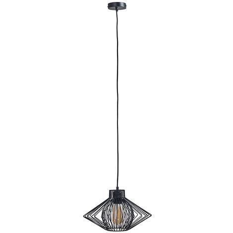 "main image of ""MiniSun - Black Ceiling Pendant Wire Frame Light Shade Gloss Black - Add LED Bulb"""
