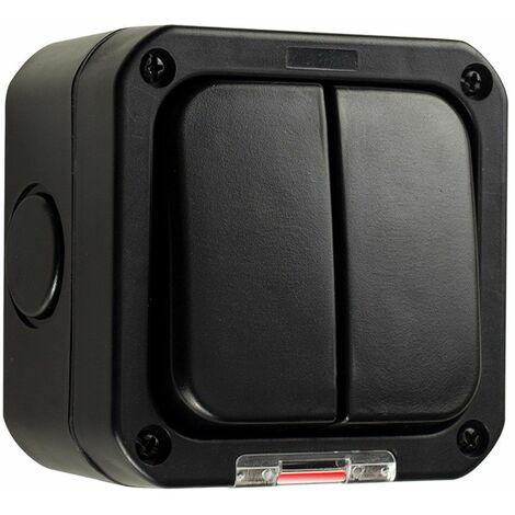 "main image of ""MiniSun - Black IP66 Durable Plastic Weatherproof Outdoor Garage 2 Gang Double Light Switch"""