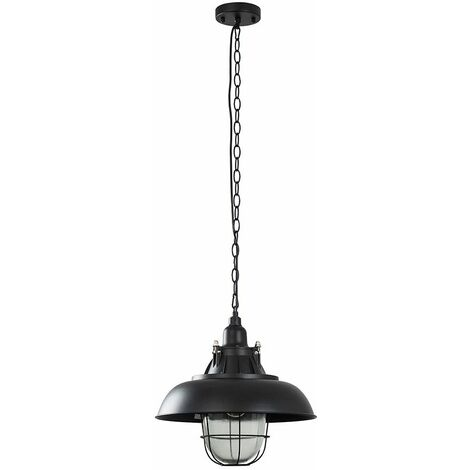 MiniSun Black Metal & Clear Glass Vintage Style Lantern Ceiling Lamp Pendant