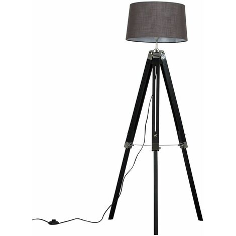 Black Wood & Chrome Tripod Floor Lamp - Dark Grey