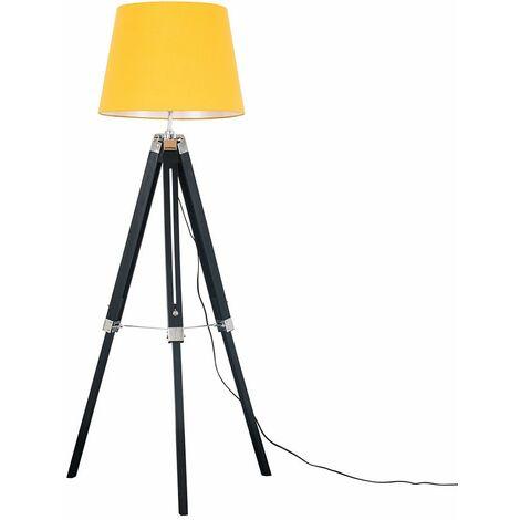 Black Wood & Chrome Tripod Floor Lamp - Mustard