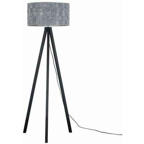 Black Wood Tripod Floor Lamp Grey Felt Weave Light Shade - No Bulb