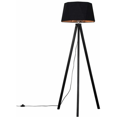 Black Wood Tripod Floor Lamp Matt Black/Copper Geometric Shade - No Bulb