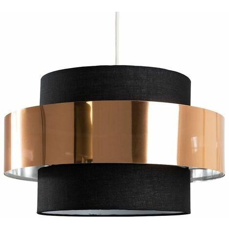 Minisun Ceiling Pendant Light Shade In A Black & Copper Effect Finish - Black