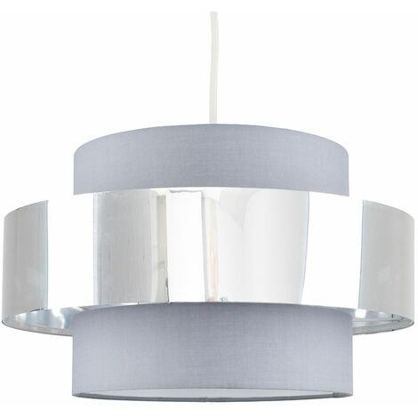 MiniSun Ceiling Pendant Light Shade in a Grey & Chrome Effect Finish