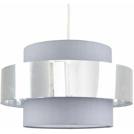 Minisun Ceiling Pendant Light Shade In A Grey & Chrome Effect Finish - Grey