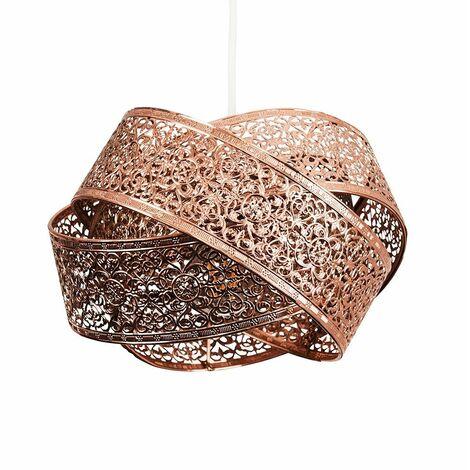 """main image of """"MiniSun - Ceiling Pendant Shade Copper Non Electric Finish Intertwined Design - No Bulb"""""""