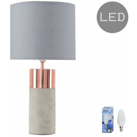 """main image of """"Finley Cement Table Lamp + 4W LED Candle Bulb"""""""