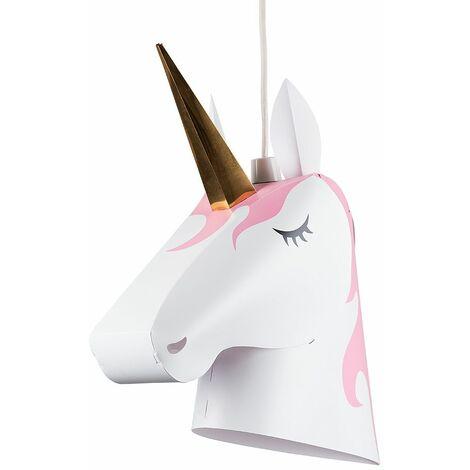 Children'S Bedroom/Baby White Pink & Gold Unicorn Ceiling Pendant Light Shade - No Bulb