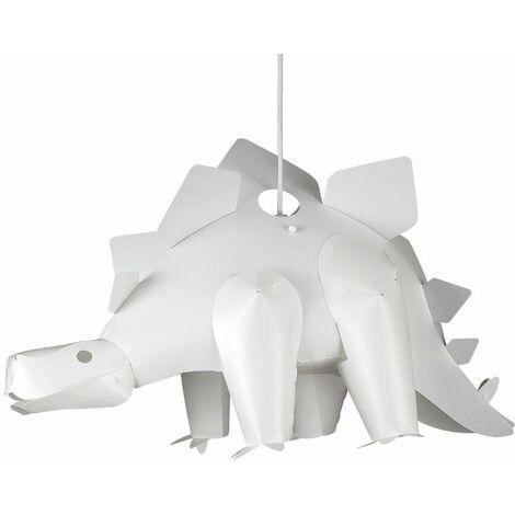 Children'S Bedroom White Stegosaurus Dinosaur Jurassic Pendant Shade - No Bulb