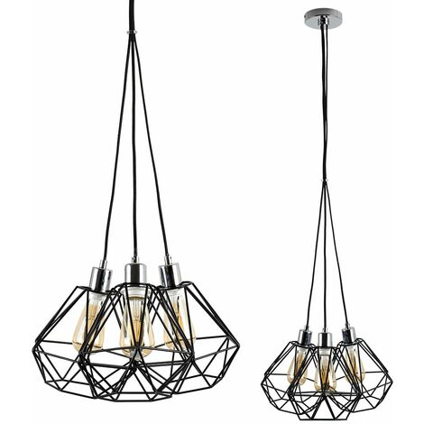 Minisun Chrome 3 Way Droplet Ceiling Light + Black Shades + 4W LED Filament Amber Light Bulbs - Warm White - Silver