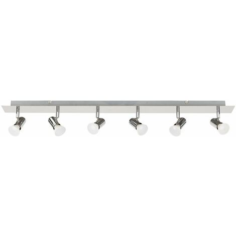 Minisun Chrome 6 Way Adjustable GU10 Ceiling Spotlight 5W LED Bulbs Warm White - Silver