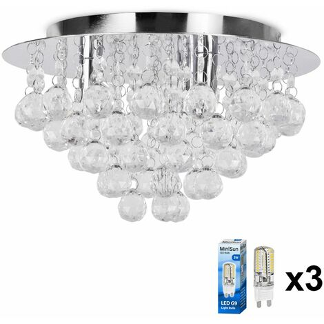 Minisun Chrome & Acrylic Flush Ceiling Light Jewel Droplets Led - Add LED Bulb - Silver