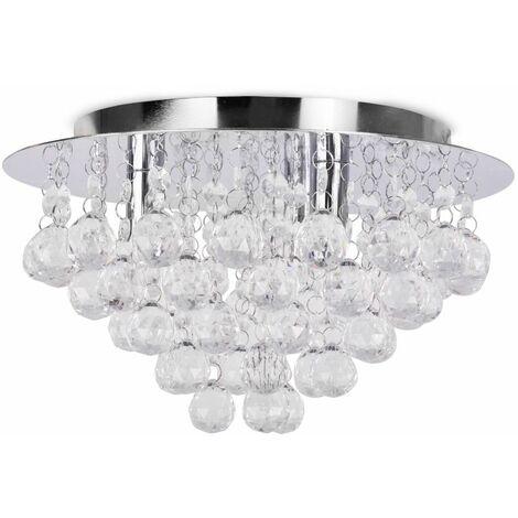 Minisun Chrome & Acrylic Flush Ceiling Light Jewel Droplets Led - No Bulb - Silver