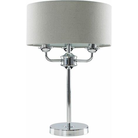 "main image of ""Chrome Base 3 Way Table Lamp Grey Linen Lampshade LED - Add LED Bulb"""