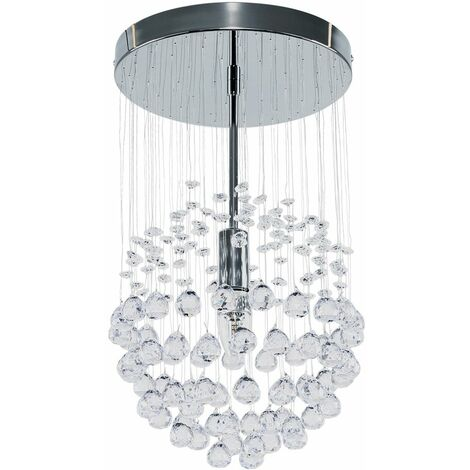 """main image of """"MiniSun - Chrome Ceiling Light With Suspended Clear Acrylic Droplets"""""""