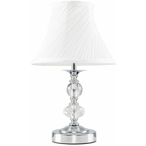 Minisun Chrome & Glass Touch Table Lamp With Pleated White Shade 5W Led Dimmable Bulb Warm White - Silver