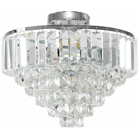 Minisun Chrome & K9 Genuine Crystal Icicle Droplet Flush Ceiling Light Fitting