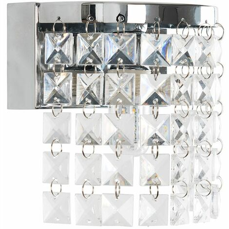Minisun Chrome LED Wall Light Chandelier Ip44 Rated Acrylic Crystals
