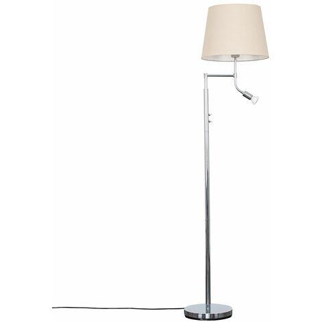 Minisun Chrome Metal I Reading Light Floor Lamp + Beige Light Shade