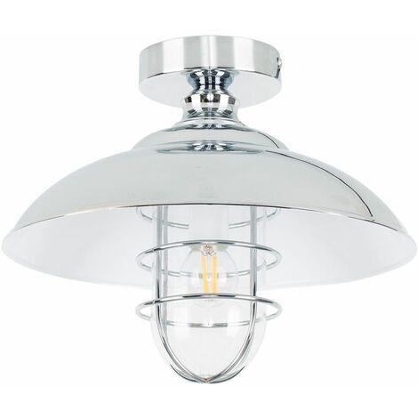 Minisun Chrome & Metal Semi Flush Ceiling Light + 4W LED Filament Golfball Bulb - Warm White - Silver