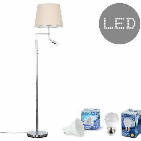 Minisun Chrome Reading Light Floor Lamp + Beige Light Shade 4W LED Golfball Bulb & 5W GU10 Bulb - Warm White