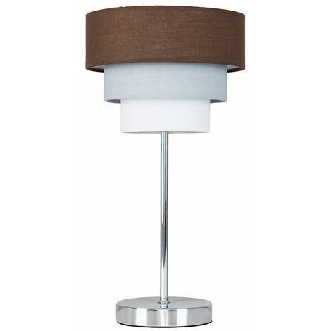 Minisun Chrome Touch Table Lamp 3 Tier Lampshades
