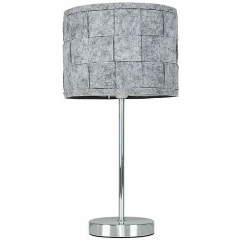 Minisun Chrome Touch Table Lamp Grey Felt Weave Shade Bedside Lights