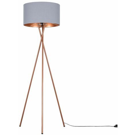 Minisun Copper Metal Tripod Floor Lamp + Grey & Copper Shade + 6W LED Bulb Warm White - Copper