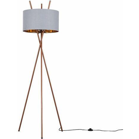 Minisun Copper Tripod Floor Lamp Light Fabric Lampshade LED Bulb - LED Bulb