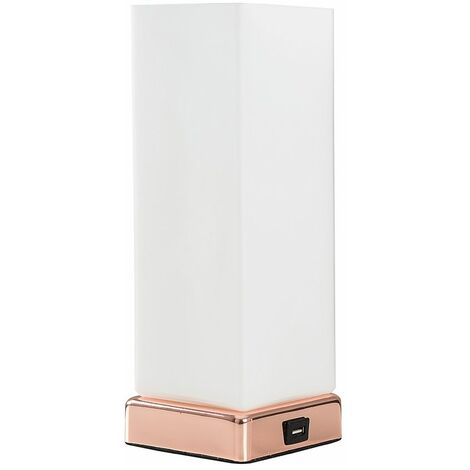 Minisun Copper & White Frosted Glass Bedside Touch Table Lamp With Usb Charging Port
