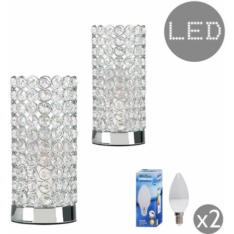 Minisun Crystal Touch Table Lamps Pair Of Bedside Lamps - Add LED Bulbs - Silver