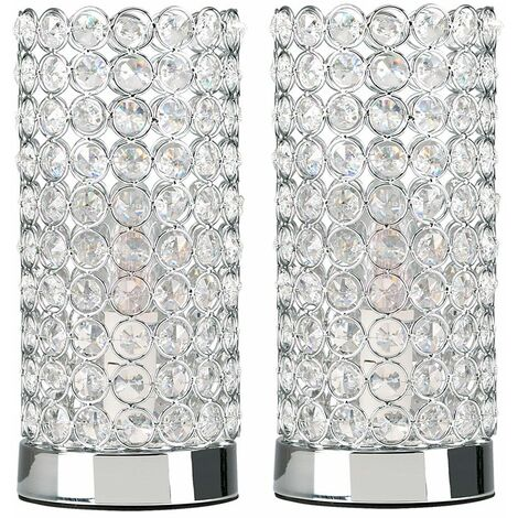 Minisun Crystal Touch Table Lamps Pair Of Bedside Lamps - No Bulbs - Silver