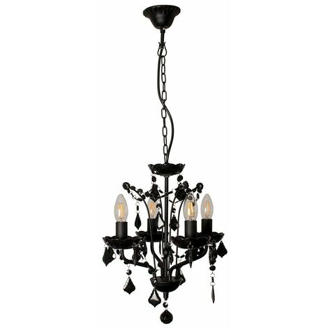 MiniSun Decorative Black 4 Way Chandelier with Clear Acrylic Jewels