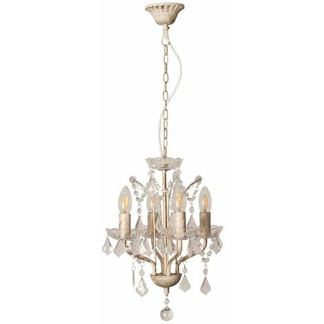 MiniSun Decorative Distressed White 4 Way Chandelier with Clear Acrylic Jewels