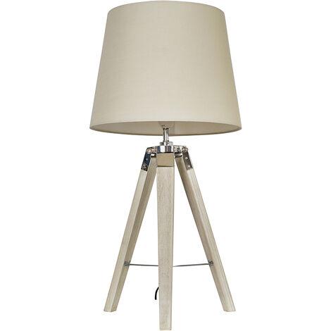 Minisun Distressed Wood & Chrome Tripod Table Lamp + Beige Light Shade + 6W LED Gls Bulb Warm White - Brown