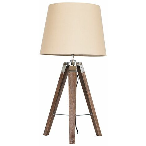 Minisun Distressed Wood & Chrome Tripod Table Lamp + Beige Light Shade - Brown