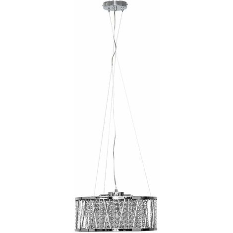 Minisun Elegant Chrome & Clear Crystal Bead Ceiling Light Pendant + 3W LED G9 Bulbs Warm White