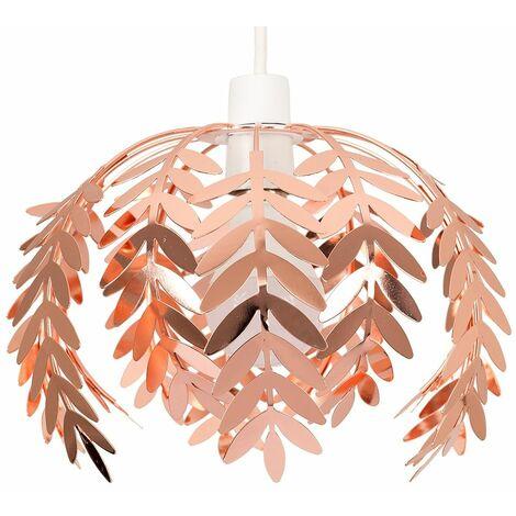 Minisun Fern Leaf Ceiling Pendant Light Shade Copper Finish + 6W Led Gls Bulb - Warm White - Copper