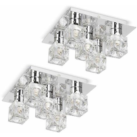 "main image of ""MiniSun - Flush Ceiling Light 2 x Chrome Glass Ice Cube 5 Way Fittings"""