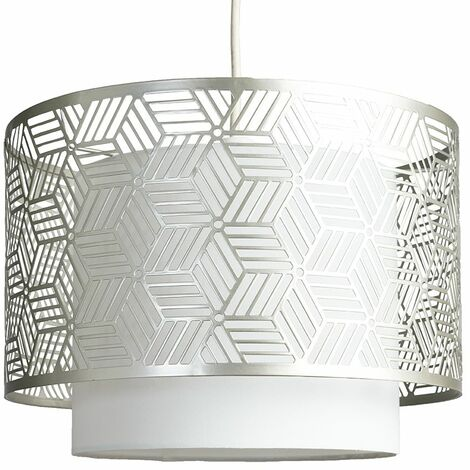 Minisun Geometric Light Shade Ceiling Pendant Shade Mesh Indoor Lamp - No Bulb - Grey