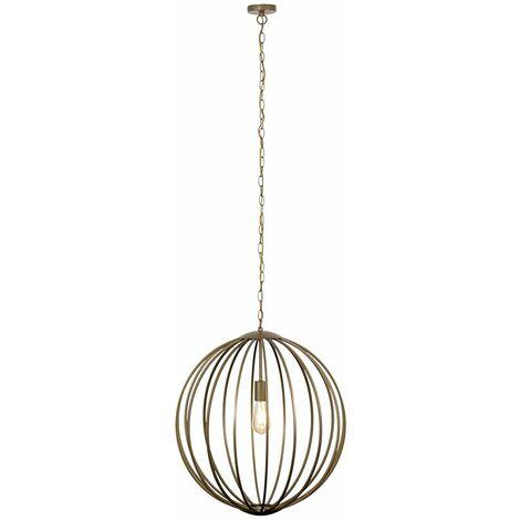 Minisun Geometric Pendant Light Basket Metal Gold Ceiling LED Bulb - Gold
