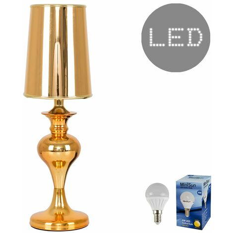 MiniSun Gold Spindle Table Lamp + Elongated Light Shade - 4w LED Golfball Bulb Warm White